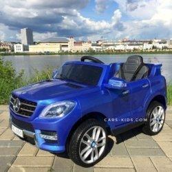 Электромобиль Mercedes-Benz ML350 синий (резиновые колеса, кожа, пульт, музыка, ГЛЯНЦЕВАЯ ПОКРАСКА)