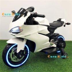 Электромотоцикл Ducati SX1628-G белый (колеса резина, сиденье кожа, музыка, страховочные колеса)