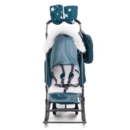 Санки-коляски Pikate Звезды «Аквамарин» (материал «Dewspoo» плотностью 240 D, овчина, 3 положения спинки, краска рамы темно-серый)